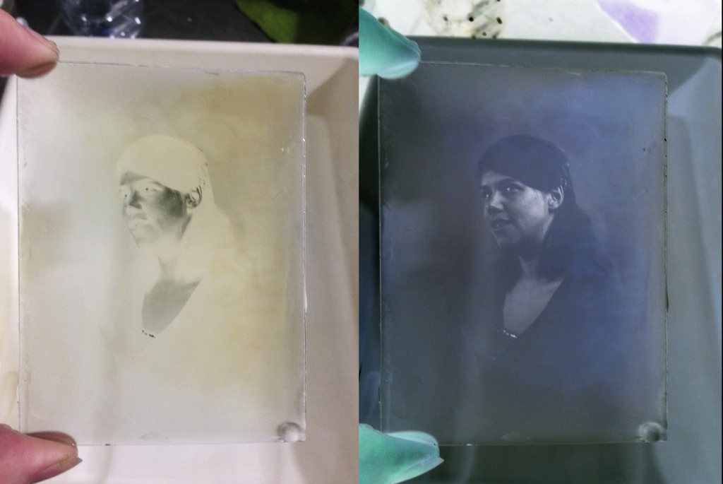 laura on glass negative positive pair
